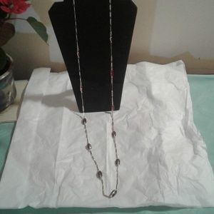 Coldwater creek red bead gold chain link necklace